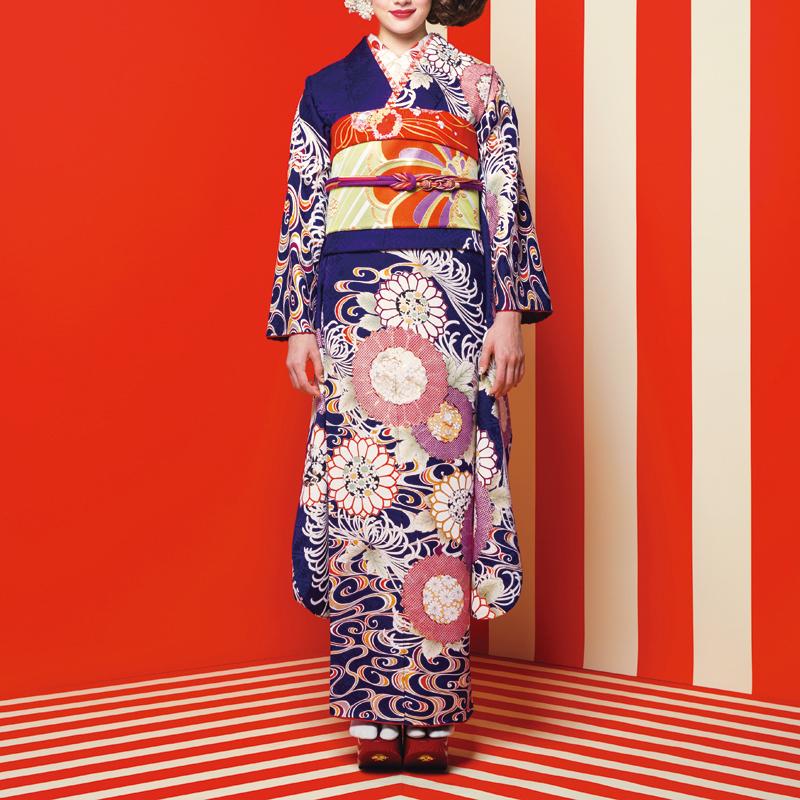 【成人式/参列/振袖】上品&華やかな藍色の大胆スタイル☆藍色流水菊