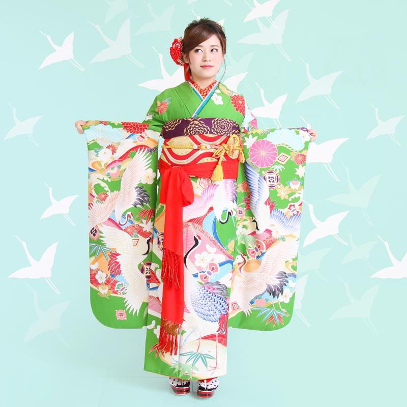 【成人式/参列/振袖】幸せ運ぶレトロモダン☆緑地夫婦立鶴